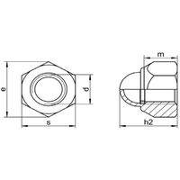 M4 DIN 986 Hexagon Domed Cap Nut with Nylon Insert - A2 Stainless Steel