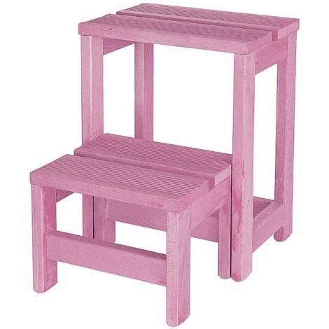 Escalera banqueta 2 peldaños rosa