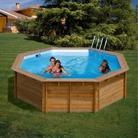 2711d69288e0 gre piscina fuoriterra in vero legno mod. vanille tonda 412x119 cm con  pompa sabbia e