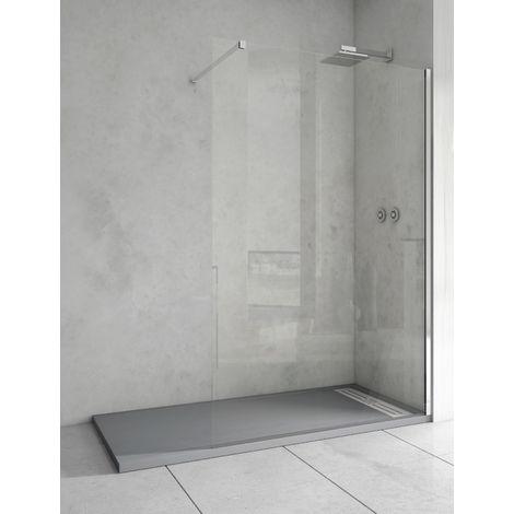 Mampara de ducha de 1 hoja fija - Cristal de Seguridad de 8 mm Transparente- Modelo TALA de 70 cm