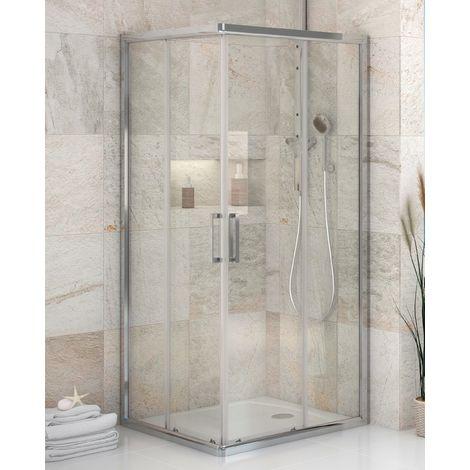 Mampara de ducha angular de 2 hojas fijas y 2 puertas correderas- Cristal de seguridad 6 mm - Modelo FRESH Q de 90 x 120 cm - TRANSPARENTE