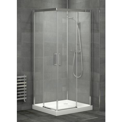 Mampara de ducha angular de 2 hojas fijas y 2 puertas correderas- Cristal de seguridad 6 mm - Modelo LENOX de 90 x 120 cm - TRANSPARENTE