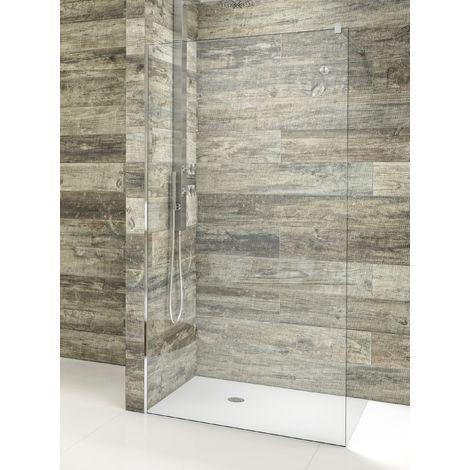 Mampara de ducha de 1 hoja fija - Cristal de Seguridad de 8 mm - Modelo AURORA de 80 cm -TRANSPARENTE