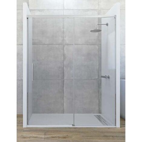 Mampara de ducha frontal de 1 hoja fija y 1 puerta corredera. - Modelo COSMOS Medida (100-110) - TRANSPARENTE