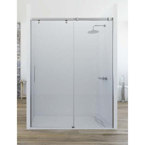 Mampara de ducha frontal de 1 hoja fija y 1 puerta corredera. - Modelo MIRIEL Medida (100-110) - TRANSPARENTE