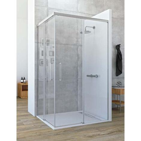 Mampara de ducha angular de 2 hojas fijas y 2 puertas correderas. - Modelo ASTRO Medida (90 X 120) - TRANSPARENTE