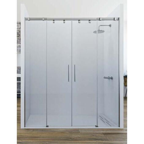 Mampara de ducha frontal de 2 hojas fijas y 2 puertas correderas. - Modelo ARWEN Medida (121-130) - TRANSPARENTE