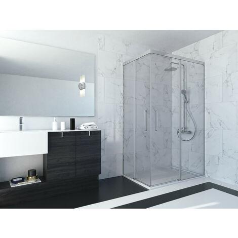Mampara de ducha angular de 2 hojas fijas y 2 puertas correderas. - Modelo ABI Medida (80 X 80) - TRANSPARENTE