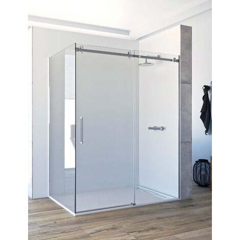 Mampara de ducha angular de 2 hojas fijas y 1 puerta corredera. - ACERO INOXIDABLE - Modelo CANDIL Medida (90 X 120) - TRANSPARENTE