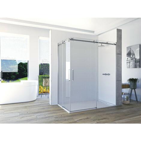 Mampara de ducha angular de 2 hojas fijas y 2 puertas correderas. - ACERO INOXIDABLE - Modelo VELA Medida (70 X 80) - TRANSPARENTE