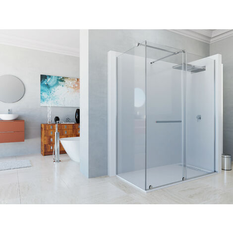 Mampara de ducha angular de 2 hojas fijas y 1 puerta corredera. - Modelo IRATI Medida (70 X 80) - TRANSPARENTE