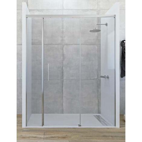 Mampara de ducha frontal de 2 hojas fijas y 1 puerta corredera. - Modelo CENTAURO Medida (141-150) - TRANSPARENTE