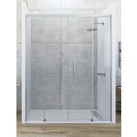 Mampara de ducha frontal de 2 hojas fijas y 2 puertas correderas. - Modelo GALAXIA Medida (121-130) - TRANSPARENTE