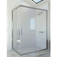 Mampara de ducha angular de 2 hojas fijas y 2 puertas correderas. - Cristal 6 mm con ANTICAL INCLUIDO - Modelo DIÓN Medida (70 X 80) - TRANSPARENTE
