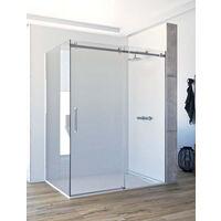 Mampara de ducha angular de 2 hojas fijas y 1 puerta corredera. - ACERO INOXIDABLE - Cristal 6 mm con ANTICAL INCLUIDO - Modelo CANDIL Medida (70 X 80) - TRANSPARENTE