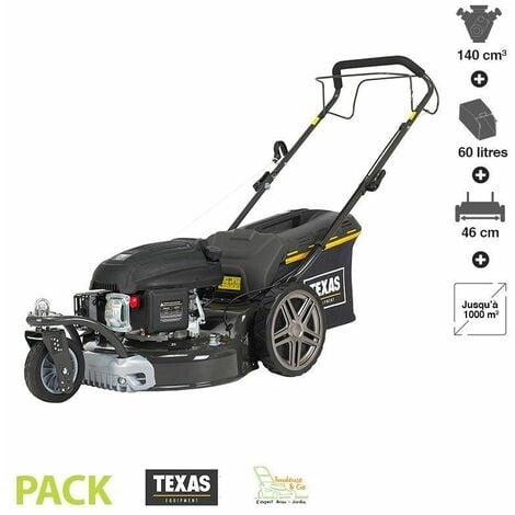 Tondeuse thermique tractée 139 cc 3 roues coupe 46cm mulching TEXAS Premium 4675TR/W - Noir