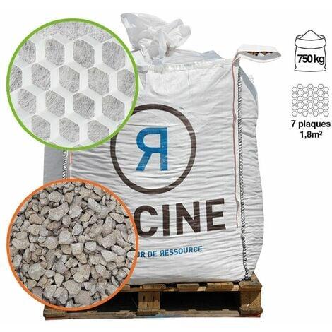 Pack gravier 750 Kg et 7 dalles alvéollées 1,8m² pour surface 12,5m²