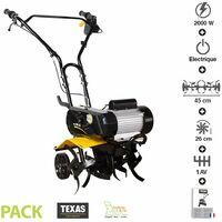 Motobineuse électrique 2000 watts largeur travail 45cm Texas ELTEX2000 - Noir