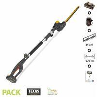 Taille haie sur perche electrique lamier 41cm orientable Texas Smart Hedge 500 - Noir