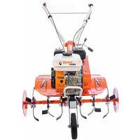 Motobineuse thermique 7 Cv 6 fraises vitesses 2AV -1AR roues agraires et métalliques butteur réglable Ruris DAC 7000 - Orange