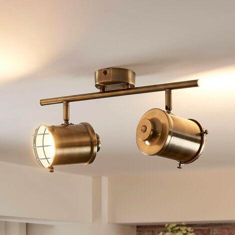 LED Deckenlampe Janek Zweiflammig Lampenwelt Wandleuchte Altmessing Flurleuchte