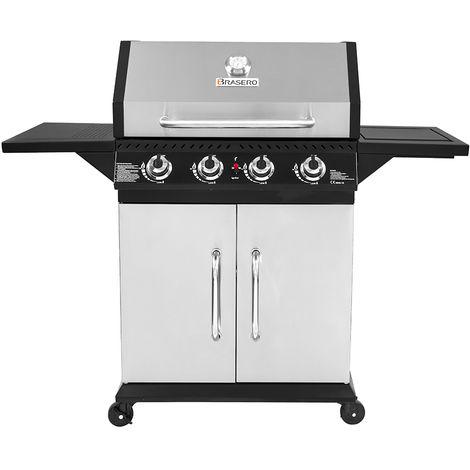 Brasero - Barbecue Perth Inox Brasero 4 Feux - Jusqu'à 12 convives - Surface de cuisson 70 x 42 cm - 2 Tablettes rabattables - Jauge de température - Récupérateur de graisse - 12 kW
