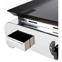 BRASERO - Plancha à gaz Lise 2 feux - Surface cuisson 65 x 50 cm - 2 brûleurs Inox - Plaque acier revêtement chemlon - Récupérateur de graisse - Fabriquée en France - 5,4 kW