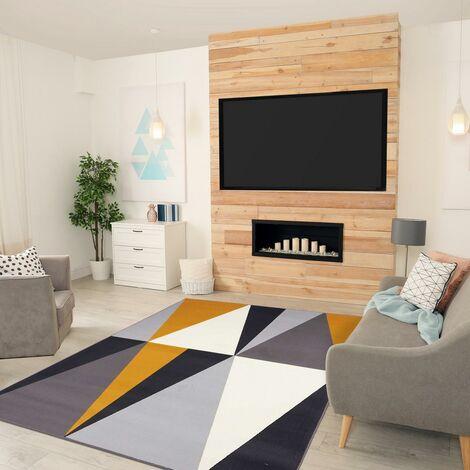 200x290 - UN AMOUR DE TAPIS - Grand Tapis Salon et Salle a Manger Moderne Géométrique Design - Tapis Jaune Gris Noir Blanc