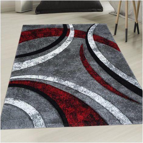 60x110 - UN AMOUR DE TAPIS - Tapis Salon Moderne Design Poils Ras Rectangulaire - Petit Tapis d Entree Interieur - Tapis Entree Rouge Gris Noir