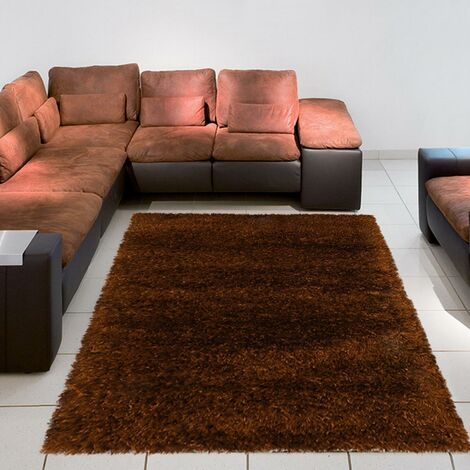Tapis shaggy poils long 200x290 cm Rectangulaire SHAGGY MELANGE Marron Salle à manger Tufté main adapté au chauffage par le sol