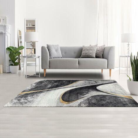 80x150 - UN AMOUR DE TAPIS - Tapis Salon Moderne Design Graphique Poils Ras - Petit Tapis Salon Rectangulaire - Tapis Chambre Turquoise - Tapis Jaune Gris Noir