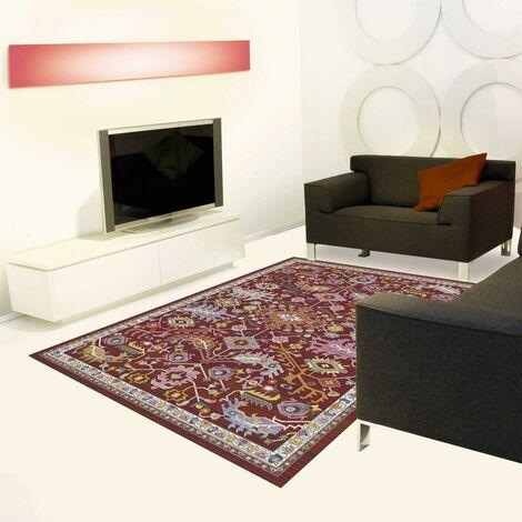 200x200 rond Tapis style oriental 200x200 cm Rond INSPI USHAK KJ Rouge Grand salon adapté au chauffage par le sol