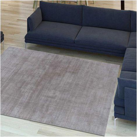 Tapis design et moderne 140x200 cm Rectangulaire NEO UNI Gris Salon Tufté main adapté au chauffage par le sol