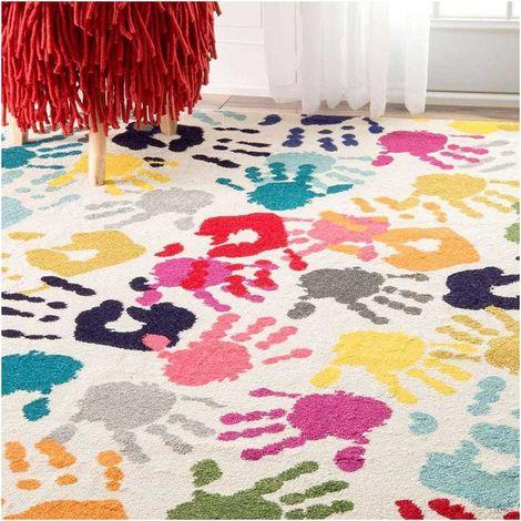 200x290 - UN AMOUR DE TAPIS - Grand Tapis Salon et Salle a Manger Moderne Design Poils Ras - Tapis Chambre Turquoise - Tapis Multicolore
