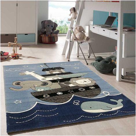 tapis enfant 60x110 cm rectangulaire etelda bleu chambre adapte au chauffage par le sol