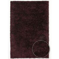 Tapis shaggy poils long 140x200 cm Rectangulaire MALAIDORY Violet Salon Tufté main adapté au chauffage par le sol