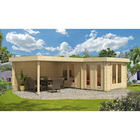 Flachdach Gartenhaus Modell Quinta ISO , ohne Imprägnierung , ohne Farbbehandlung , Schutz-Imprägnierung:Ohne Schutz-Imprägnierung|Wandstärke:44 mm Wandstärke