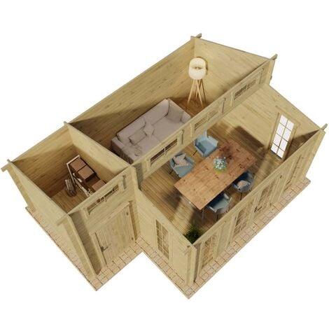 Gartenhaus Lausitz ISO mit Anbau , ohne Imprägnierung , ohne Farbbehandlung , Schutz-Imprägnierung:Ohne Schutz-Imprägnierung Wandstärke:40 mm Wandstärke