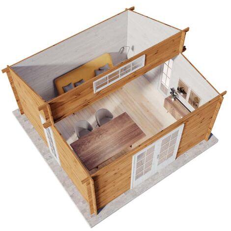 Carlsson Gartenhaus Lausitz ISO , ohne Imprägnierung , ohne Farbbehandlung , Imprägnierung ab Werk:ohne Imprägnierung|Wandstärke:40 mm