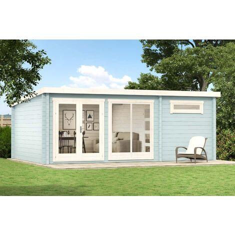 Gartenhaus Atrium-E , ohne Imprägnierung , ohne Farbbehandlung , Ohne Schutz-Imprägnierung:Ohne Schutz-Imprägnierung|Wandstärke:40 mm Wandstärke