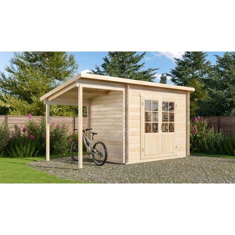 Pultdach Gartenhaus aus Holz Modell Martina-28 mit Schleppdach , ohne Imprägnierung , ohne Farbbehandlung , Imprägnierung ab Werk:ohne Imprägnierung