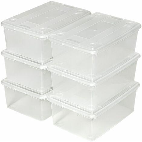 Aufbewahrungsboxen 6er Set - Aufbewahrungskisten, Plastikkisten, Kunststoffboxen mit Deckel - transparent