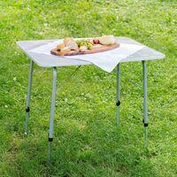 Camping Klapptisch höhenverstellbar 80x60x68cm - Camping Tisch, Outdoor Tisch, Campingtisch klappbar - grau
