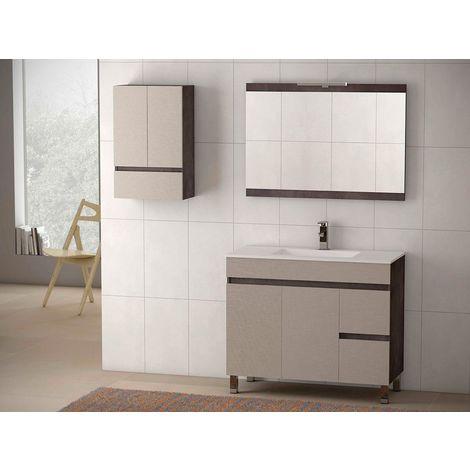Conjunto mueble Nilo de 80 cm, color Blanco, encimera de porcelana y espejo Luna de 60x80.