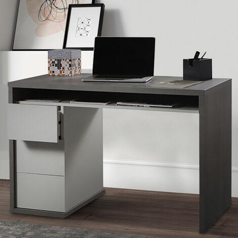 Grauer Schreibtisch Im Modernen Design mit 3 Schubladen Mackay