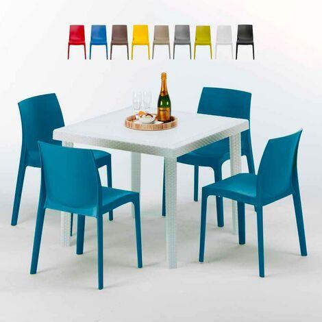 Mesa Cuadrada Blanca 90x90 cm y 4 Sillas De Colores Rome Love | Azul Marino