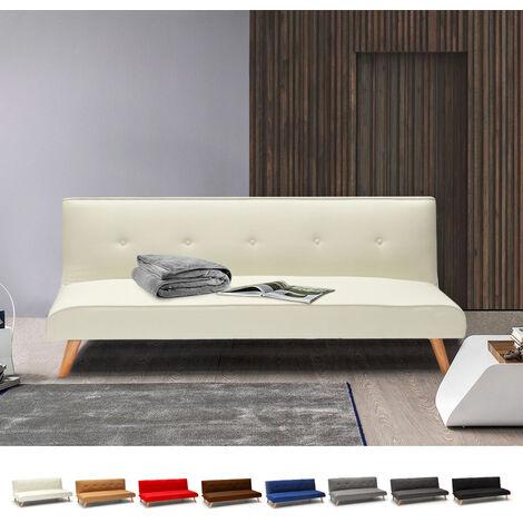Sofá cama de tejido diseño moderno 2 plazas para salón y sala de estar clic-clac Larimar | Color: Blanco