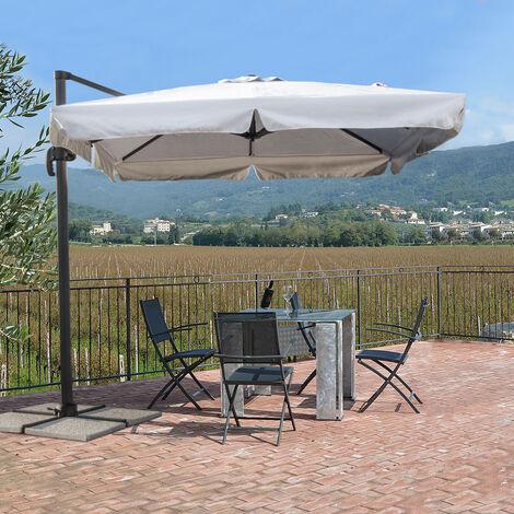 Parasol Jardín 2.5 metros Cuadrado Excéntrico Aluminio Bar Hotel Paradise | con volante