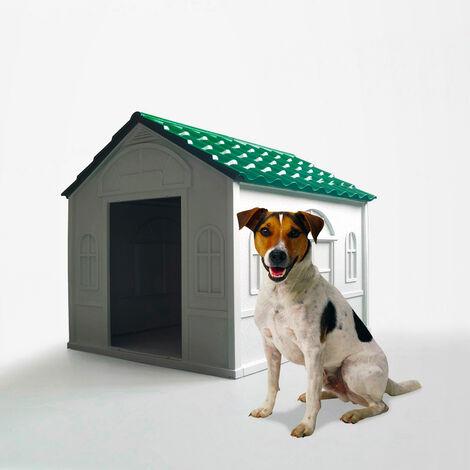 Caseta para perros medianos en jardín de plástico Milo