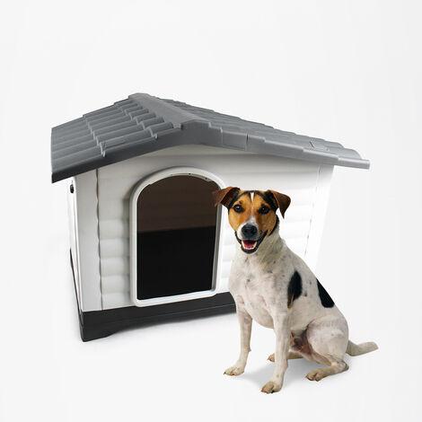 Caseta de jardín para perros pequeños de plástico con plataforma Lola